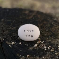 Magic Pebble - I LOVE YOU silver gray