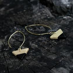 Minimalista kerámia ékszer - arany / fekete fülbevaló