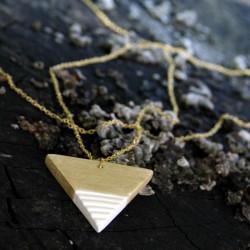 Minimalista kerámia ékszer - arany / fehér nyaklánc