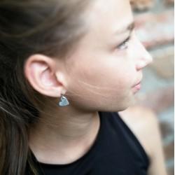MINI SZÍV fülbevaló - ezüst
