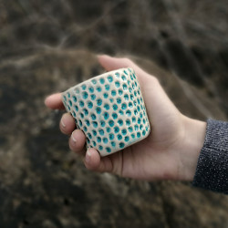 Kávés csésze mini - türkizkék pöttyös